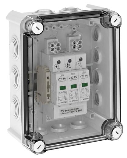Ü-Spg Box, Typ 2 Ableiter, IP66, 2 Stränge OBO BETTERMANN VG-V20-C3-PH1000