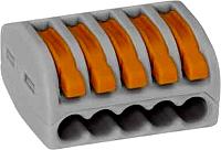 """WAGO 222-415 5-Leiter-Klemme grau Bedienhebel 0,08–2,5mm²""""e"""" 0,8-4mm²""""f""""40 Stk"""
