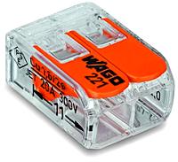 WAGO 221-412 2-Leiter-Klemme COMPACT transparent Bedienhebel 0,14-4mm²  100 Stück