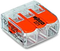 WAGO 221-413 3-Leiter-Klemme COMPACT transparent Bedienhebel 0,14-4mm²  50 Stück
