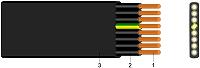 FLACHLEITUNG SCHWARZ KABEL-LEITUNGEN H07VVH6-F 5G4 SW  1m Schnittlänge