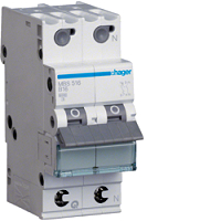 Hager MBS516 LS-Schalter 6kA/B/1+N/16A,(2TE) QuickConnect