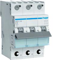 Hager MBS316 LS-Schalter 6kA/B/3P/16A, Quick Connect