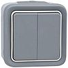 Legrand 069715 Feuchtraum Aufputz Doppelwechselschalter Grau