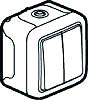 Legrand 069725 Feuchtraum Aufputz Doppelserientaster Grau