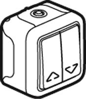 Legrand 069718 Feuchraum Aufputz-Jalousieschalter Grau