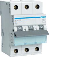 Hager MCN313 LS-Schalter 6KA,C,3pol,13A,anflanschbar