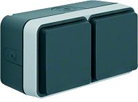 W.1 SSD 2fach waagrecht grau/lichtgrau matt BERKER 47753525