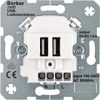 BERKER 260209 USB-Ladesteckdose 230 V, 2fach mit Tragring eckig,